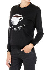 ANITALIANTHEORY New Woman Black Wool Cup Coffee Jumper Sweater Made Italy