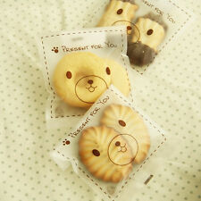 Frosted Bear Cello Cellophane Wedding Party Favour Sweet Macarons Gift Craft Bag