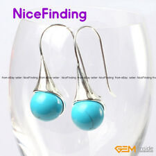 12mm Round Drop Dangle Hook Stone Earrings For Women Silver Plated Jewelry Gifts