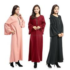Women Muslim New Kaftan Abaya Jilbab Islamic Ruffle Sleeve Loose Maxi Dress Robe