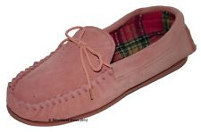 Ladies Girls Coolers Lodgemok Real Suede Leather Moccasin Slippers Pink Size 4