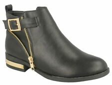 F50406- Ladies Black Synthetic Spoton Ankle Boots- Gold Detail- Great Price