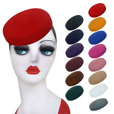 Women Circle Wool Felt Pillbox Beret Hat Millinery Fascinator Base Cocktail A215