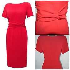 NEW LINEA HOUSE OF FRASER SHIFT DRESS PENCIL RED CREPE PARTY WORKWEAR SZ 8 - 18