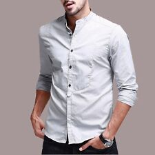 New Mens 100% Cotton Casual Shirt Long Sleeve Stand Collar Solid Shirt M to XXL