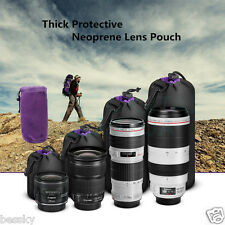 4PCS Neoprene DSLR Camera Lens Soft Pouch Protector Carry Bag Case Set S M L XL