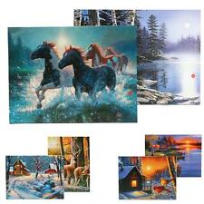 LED Batteries Operated Lighted Canvas Art Picture Print Home Wall Decor Unframed