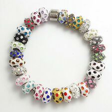 Mix Silver CZ Crystal European Charms Loose Spacer Beads Fit  Bracelet Necklace