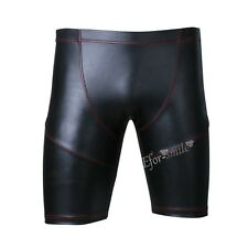 Sexy Men Sport Running Gym Workout Faux Leather Shorts Tights Athletic Pant