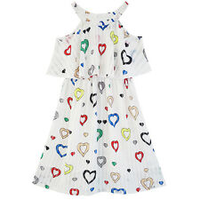 Girls Dress Colorful Heart Print Cold Shoulder Party Dress Age 4-12 Years