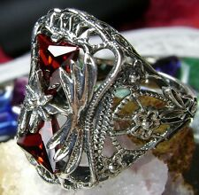 *Red Garnet* Sterling Silver Victorian Floral Filigree Ring (Made To Order)