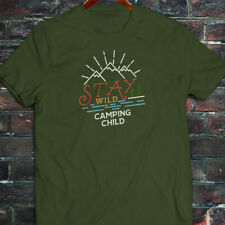 STAY WILD CAMPING CHILD NATURE MOUNTAINS OUTDOORS Mens Military Green T-Shirt