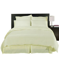 8PC Solid 600TC Ivory Bed in a Bag Set- Duvet Set-Sheets & White Comforter