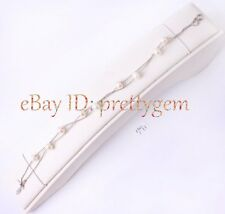 """6-7mm Natural Freeform Shape Pearl White Gold Plated Double Chain Bracelet 7"""""""