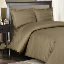 8PC Striped 300TC Taupe Bed in a Bag Set- Duvet Set-Sheets & White Comforter