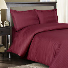 8PC Striped 300TC Burgundy Bed in a Bag Set- Duvet Set-Sheets & White Comforter