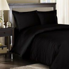 8PC Striped 300TC Black Bed in a Bag Set- Duvet Set-Sheets & White Comforter