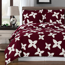 8PC Desiree Burgundy/White Bed in a Bag Set- Duvet Set-Sheets & White Comforter