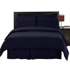 8PC Microfiber Navy Bed in a Bag Set- Duvet Set-Sheets & White Comforter
