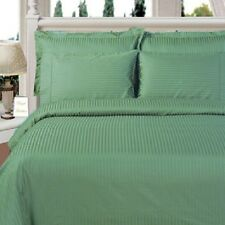 8PC Microfiber Stripe Sage Bed in a Bag Set- Duvet Set-Sheets & White Comforter