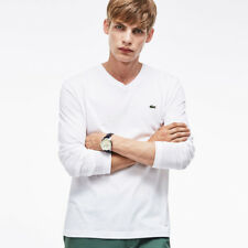 Lacoste Mens Long Sleeve Pima Jersey V Neck T Shirt Cotton TH1370