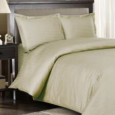 8PC Striped 600TC Linen Bed in a Bag Set- Duvet Set-Sheets & White Comforter