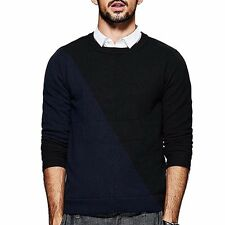 Classic Mens Pullover Contrast Color Round Collar Long Sleeve Slim Sweater M~2XL