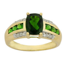 Chrome Diopside 2.50 Carat Gemstone & Diamond Ring In 14 Kt Yellow Gold Jewelry