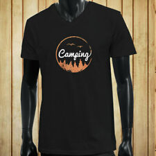 CAMPING ADVENTURE TREES BIRDS MOUNTAINS OUTDOORS Mens Black V-Neck T-Shirt