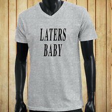 LATERS, BABY 50 SHADES OF GREY DARKER LOVE LUST Mens Gray V-Neck T-Shirt