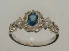 Sterling Silver Natural London Blue Topaz & Cultured Pearl Womens Trilogy Ring