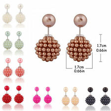 1Pair Fashion Women Candy Double Round Ball Granula Faux Pearl Ear Studs Earring