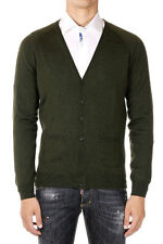 DSQUARED2 Dsquared² New Men Green Cardigan wool Silk Long sleeve Tee Made Italy