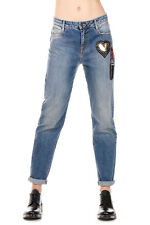 AMEN Woman Denim Jeans with Strass Applied Made in Italy