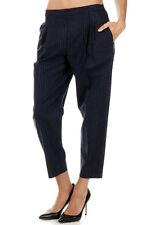 MAISON MARTIN MARGIELA 4 New Women Blue Striped wool Cotton Pants Made in Italy