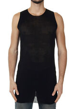 RICK OWENS VICIOUS New Black Cotton Sleeveless TUNIC Top T-Shirt Made Italy