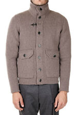 Fay New Men Beige Lined Padded Wool Knitted Sweater Coat Jacket Made Italy