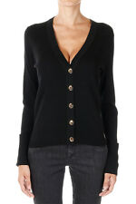 TORY BURCH  Woman BLACK SHRUNKEN Merino Wool V neck Long sleeve Cardigan Sweater