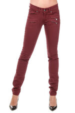 PIERRE BALMAIN Women New Cotton Stretch Trousers Red Original Italy Made