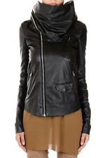 RICK OWENS Women Black Leather COWLED STOOGES Jacket New with Tag