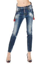DSQUARED2 Dsquared² Women COOL GIRL Embroidered Stretch Denim Jeans Italy Made
