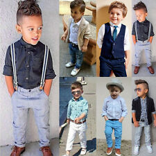 New Kids Outfits Baby Boys Gentleman Suit Waistcoat Tie Shirt Jeans Set Clothes