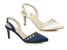 Debut Womens Diamante detail Low Court Shoes Bridal Navy Ivory 2.7 Inch Heel