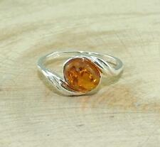 Cognac Baltic Amber 925 Silver Bypass Ring Jewellery
