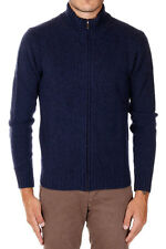 PLOUMANAC'H New Men Blue Full Zip Virgin Wool Cardigan Sweater Made italy NWT