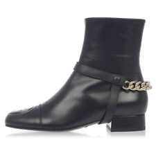 GUCCI Woman Black Brushed Leather Ankle Boots Made in Italy