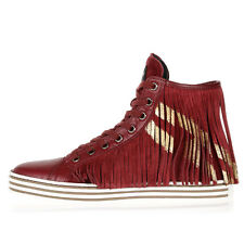 HOGAN REBEL New Woman Red Fringe Leather Suede Sneakers Shoes NWT