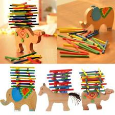 Wooden Stacking Animal Stack Up Sticks Blocks Puzzles Kids Preschool Game Toy