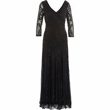 BLACK CHARLESTON FLAPPER GATSBY dress 1920's DECO VINTAGE GOWN COCKTAIL EVENING