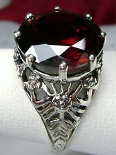 6ct *Red Garnet* Solid Sterling Silver Crown Filigree Ring Size {Made To Order}